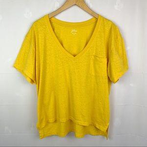 J.Crew Yellow V-Neck Cotton Blend Pocket Tee